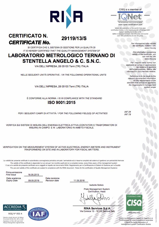 Certificato Iso 2018