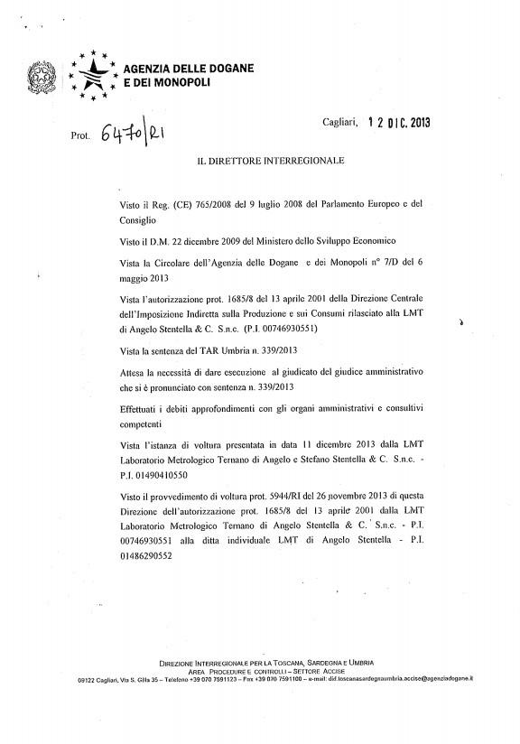 Autorizzazione Ministeriale Agenzia delle Dogane e dei Monopoli